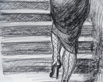 """Caboose in Fishnets, original drawing in black litho crayon, 8.5""""x11"""" on paper by Kenney Mencher"""