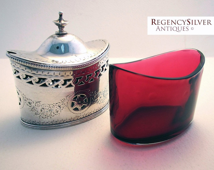 Featured listing image: Large Georgian (1785) Solid Sterling Silver Antique Hallmarked Mustard Pot with Cranberry Glass Liner. Rare 18th-century George III.