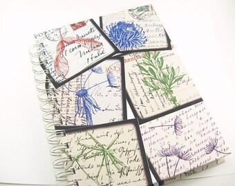 5.5 x 8.5 Vintage French Images,handmade journal, notebook, unlined paper, travel journal, blank journal, spiral bound book, prayer journal