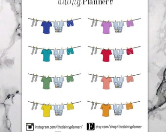 Planner Colorful Clothesline Laundry Stickers - Functional Stickers - Erin Condren, Kikki K, Emily Ley, Plum Paper, Inkwell, Limelife