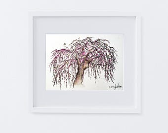 Cherry blossom Original Watercolor, cherryblossome tree painting, Flowers artwork,6x8in, Wall art, spring, Anniversary Gift