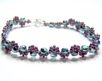 Metallic pink and mint green bracelet, mint bracelet, seed bead bracelet, elegant bracelet, firepolish bracelet, wave bracelet BR002