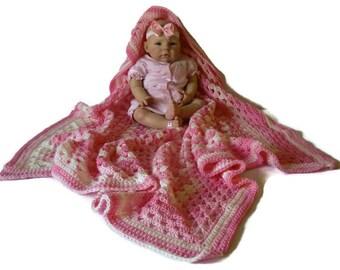 Crocheted Baby Pink White Ombre Multicolor Warm Handmade Baby Girl Jumbo Granny Square Infant Soft Blanket Afghan Nursing Blanket Cover Up