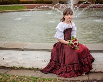 Child's Costume, Princess Birthday Party, Wedding, Summer Princess Costume, Flower Girl Dress, Halloween, Red, Steampunk Corset Cosplay
