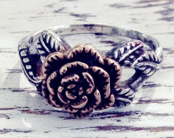 Two Tone Sterling Silver Rose Ring Size 6.5