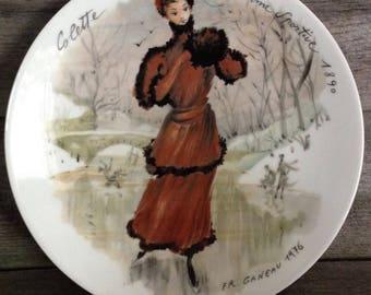 Vintage French Collectible Plate, Colette la Femme Sportive 1890 | FR Ganeau 1976