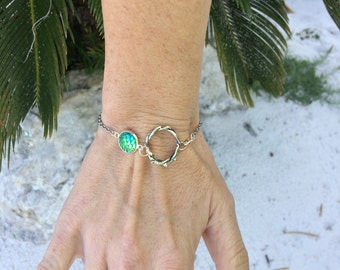 Custom Crown of Thorns Bracelet, Green Mermaid Bracelet, Christian Bracelet, Christian Jewelry