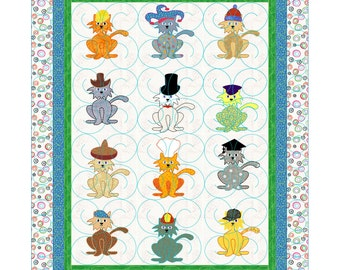 Boy or Girl Baby Quilt Pattern  Cat with a Hat
