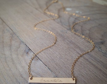 breathe - gold bar necklace - handstamped - custom layering necklace - gift for her - christmas gift - yoga jewelry - zen necklace