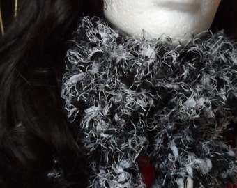 Fuzzy Black and White Winter Crochet Scarf