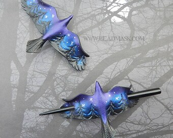 Pacific Northwest Raven Leather Barrette - Night Sky Crow Bird Hair Accessory, Hair Slide or Shawl Pin - Celestial Forest, Starry Night, PNW