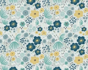 Ava Rose Floral Blue Yardage by Deena Rutter for Riley Blake Designs #C5872 100% Cotton
