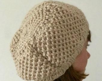 Handknitted Woman's Beige Pure Wool Beanie Hat