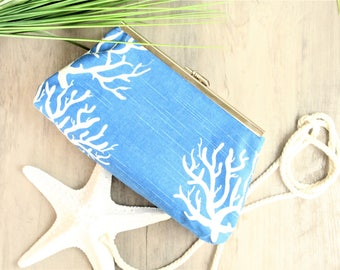 Beach Clutch, Beach Wedding, Coral Clutch, Beach Handbag, Cobalt Blue