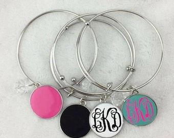 Monogram Bracelet, Dangle Bracelet, Bracelet, Personalized Jewelry, Jewelry, Personalized Bracelet, Enamel Bracelet, Disk Bracelet