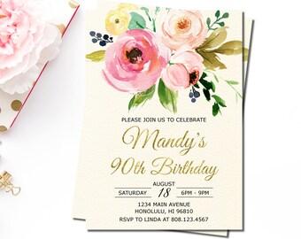 90th birthday invitations etsy 90th birthday invitations filmwisefo