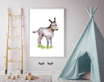 Baby donkey art - donkey Watercolor painting - Art Print - Nursery Animal Painting - donkey illustration baby donkey watercolor