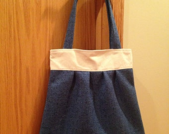 Pleated Shoulder Bag. Blue Upholstery. Canvas Lined.