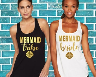 Bachelorette party shirt,bridesmaid shirt,Bachelorette shirts,,Mermaid Bride, Mermaid Squad Fitted Racerback Tank Top,Mermaid Bachelorette