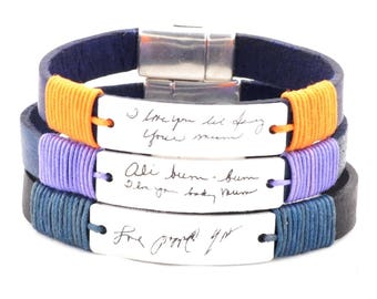 Mothers Day Gift custom handwriting bracelet, handwriting jewelry, signature bracelet, memorial jewelry, personalized aluminum jewelry, engr
