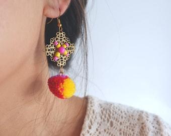 Handmade ethnic boho wiring earrings with mix color pom pom