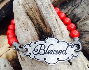 Blessed Bracelet - Women's Religious Jewelry - Christian Bracelet - Spiritual Bracelet, Red Bracelet