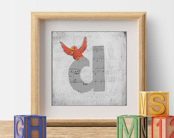 Nursery Decor, Children's Decor, Kid's Room Art, Nursery Art, Cute Bird Prints, Letter D, Wall Letters, Initials, ABC Letters