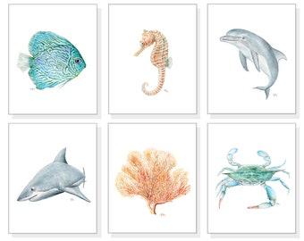 Coastal Art Ocean Art Sea Art Prints Beach Wall Art Tropical Watercolor Ocean Animals Sea Life Blue Crab Fish Dolphin Shark Seahorse Coral 6