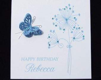 Personalised birthday card handmade birthday card butterfly personalised card handmade card floral birthday card butterfly card 3d birthday card m4hsunfo