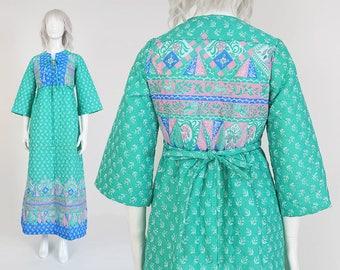 70s Green Quilted House Dress   size S M   Empire Waist Birds Rabbits Novelty Print Boho Hippie Hostess Maxi Loungewear Dress   Small Medium