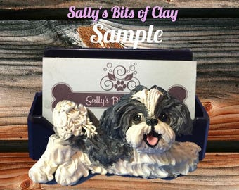 Dark Grey and White Shih Tzu dog Business Card /Cell Phone / Post It Note Holder OOAK Sculpture by Sally's Bits of Clay