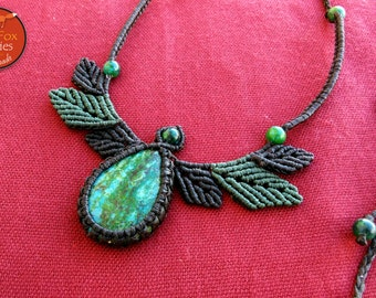 Macrame leaves necklace with Chrysocolla, Macrame leaves, Macrame necklace, macrame chrysocolla, chrysocolla necklace, macrame jewelry, egst