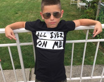 All Eyez on Me/kids/toddler/baby/tshirt/onsie/gray/black/white