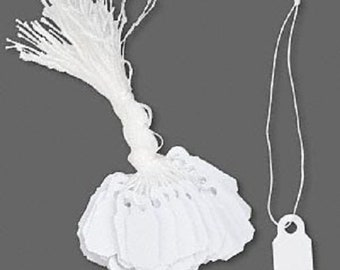 200 Small White Plastic Hanging Price Tags 3/8 x 7/8 in Jewelry,Craft Display Pricing