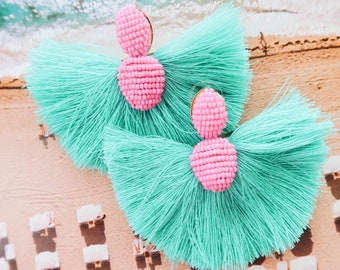 Pink and Teal 80s Florida Flamingo Tassels Vice Style Miami (Order Ship early July)