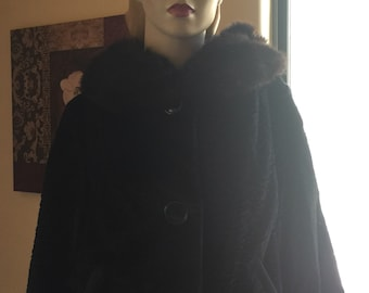 vintage black evening faux Persian Lamb fur jacket real fur collar 1940s 1950s rockabilly pin up bombshell