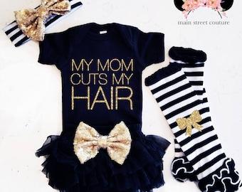 Baby Girl Clothes My Mom Cuts My Hair Shirt Sparkle Shirt Baby Shower Gift Bodysuit Baby Girl Shirt Hairstylist Glitter Shirt Baby Gift