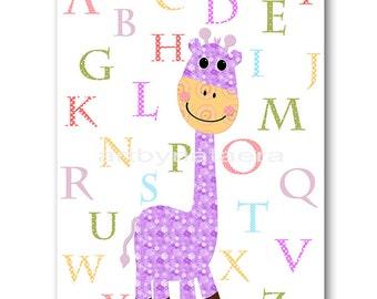 Digital Alphabet Nursery Art Baby Girl Nursery Digital Download Art Printable Digital Download Print 8x10 11X14 INSTANT DOWNLOAD Wall Art