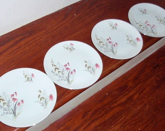"""4 ROYAL DUCHESS MOUNTAIN Bell Bavaria Germany Floral Pattern Bread Butter Dessert Plates 6 1/8"""" Platinum Trim China Nice Condition"""
