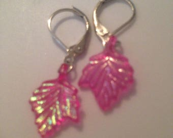 Shiny Hot Pink Leaf Earrings