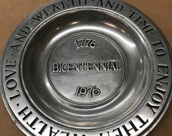 """Wilton pewter plate, 9.5"""", Columbia, PA, 1976 Bicentennial"""