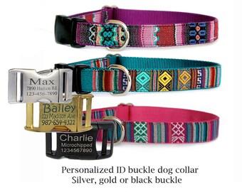 Personalized dog collar Engraved ID tag buckle pet collar Adjustable embroidered dog collar Boho, Tribal Navajo style girl boy dog collar