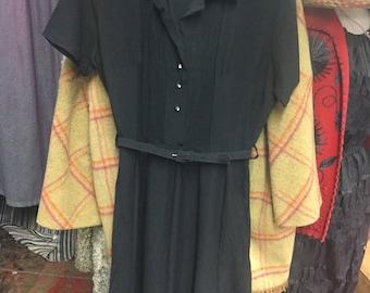 1940's Ink Black Beautiful Knee Length Dress