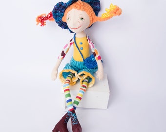 Pippi doll, Pippi Longstocking, Fabric doll, Аrt doll, Birthday gift for girls, Decor doll, Textile doll, Fairytale toy, Red haired doll