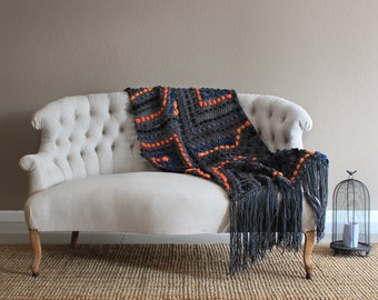 Wool couch blanket, bluky blanket, wool throw, merino wool blanket, wedding gift, merino throw, super bulky blanket, bed runner, bulky throw