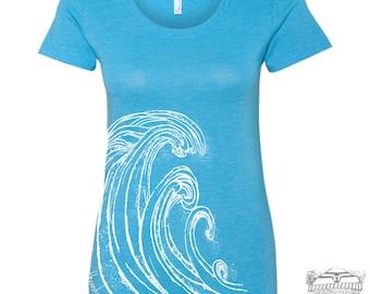 Womens WAVE Lightweight Tri Blend t shirt [+Colors] S M L XL XXL Hand Screen Printed custom