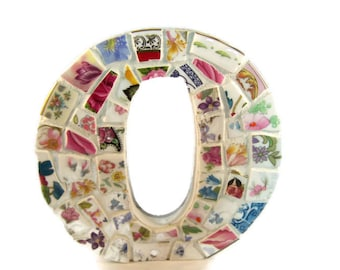 Mosaic Initial O - Broken China Mosaic - Free standing or Wall Mounted