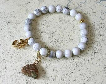 Buddha Bracelet Turquoise Jasper And Peace Sign Charm