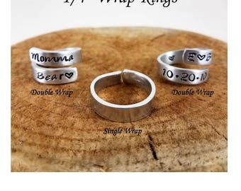 "Wrap Rings - 1/4"" Single or Double - Aluminum, Brass, Copper; Hand-Stamped, Custom, Personalize"