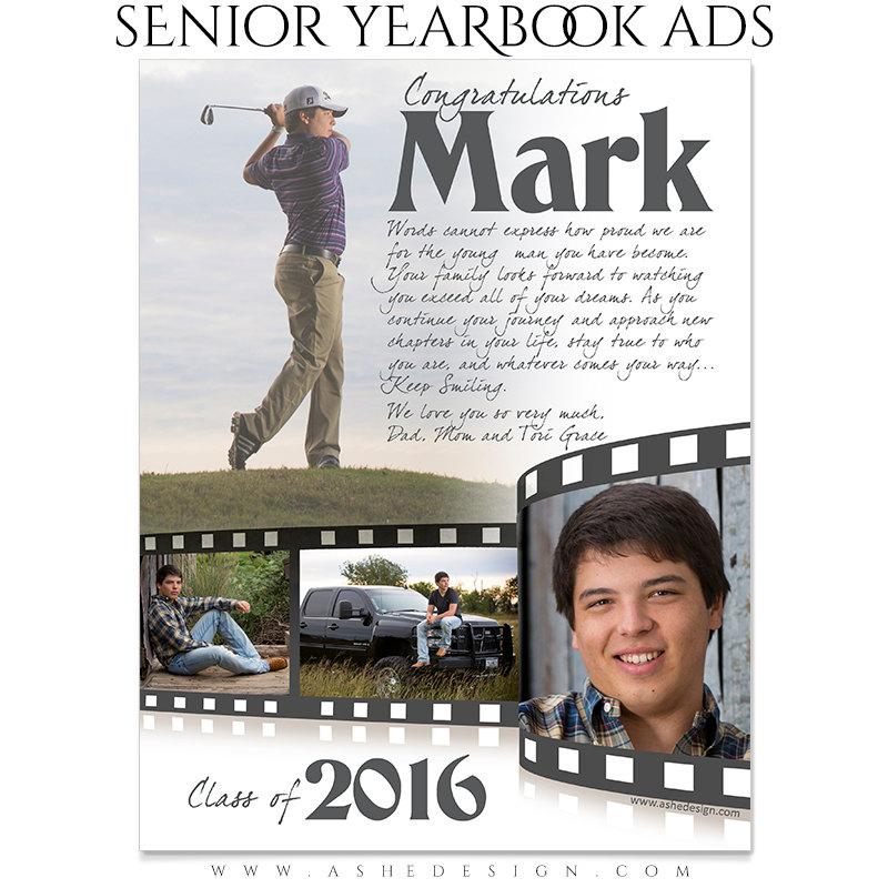Senior Yearbook Ads Photoshop Templates - FILM STRIP - High School ...